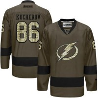 Lightning #86 Nikita Kucherov Green Salute to Service Stitched NHL Jersey