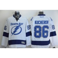 Lightning #86 Nikita Kucherov White Stitched NHL Jersey