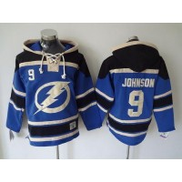 Lightning #9 Tyler Johnson Blue Sawyer Hooded Sweatshirt Stitched NHL Jersey