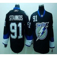 Lightning #91 Steven Stamkos Black Stitched Youth NHL Jersey