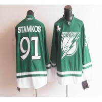 Lightning St Patty's Day #91 Steven Stamkos Green Stitched NHL Jersey