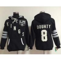 Los Angeles Kings #8 Drew Doughty Black Women's Old Time Heidi Hoodie