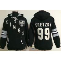 Los Angeles Kings #99 Wayne Gretzky Black Women's Old Time Heidi NHL Hoodie