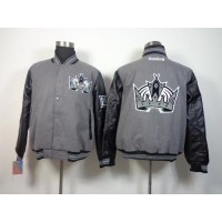 Los Angeles Kings Blank Satin Button-Up Grey NHL Jacket