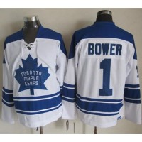 Maple Leafs #1 Johnny Bower White CCM Throwback Third Stitched NHL Jersey