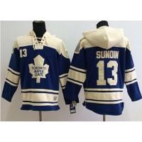 Maple Leafs #13 Mats Sundin Blue Sawyer Hooded Sweatshirt Stitched NHL Jersey