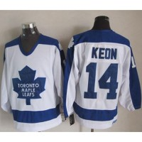 Maple Leafs #14 Dave Keon WhiteBlue CCM Throwback Stitched NHL Jersey