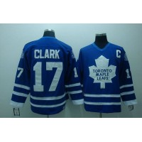 Maple Leafs #17 Wendel Clark Stitched Blue CCM Throwback NHL Jersey