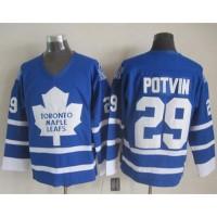 Maple Leafs #29 Felix Potvin Blue CCM Throwback Stitched NHL Jersey