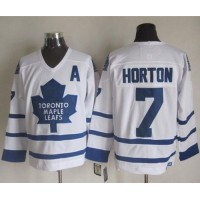 Maple Leafs #7 Tim Horton White CCM Throwback Stitched NHL Jersey