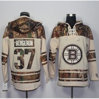 Men's Boston Bruins #37 Patrice Bergeron Cream Camo Stitched NHL Jersey