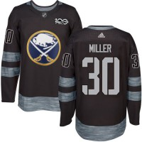 Men's Buffalo Sabres #30 Ryan Miller Black 1917-2017 100th Anniversary Stitched NHL Jersey