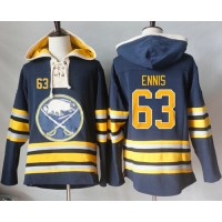 Men's Buffalo Sabres #63 Tyler Ennis Navy Blue Sawyer Hooded Sweatshirt Stitched NHL Jersey