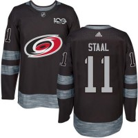 Men's Carolina Hurricanes #11 Jordan Staal Black 1917-2017 100th Anniversary Stitched NHL Jersey