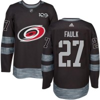 Men's Carolina Hurricanes #27 Justin Faulk Black 1917-2017 100th Anniversary Stitched NHL Jersey