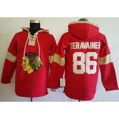 Men s Chicago Blackhawks  86 Teuvo Teravainen Red Pullover Hoodie Stitched  NHL Jersey 83be9204d