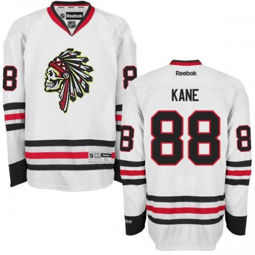 Men s Chicago Blackhawks  88 Patrick Kane Reebok Premier White Skull Ice Hockey  Jersey 4629e957f