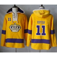Men's Los Angeles Kings #11 Anze Kopitar Gold Sawyer Hooded Sweatshirt Stitched NHL Jersey