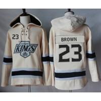 Men's Los Angeles Kings #23 Dustin Brown Cream Sawyer Hooded Sweatshirt Stitched NHL Jersey