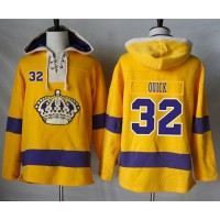 Men's Los Angeles Kings #32 Jonathan Quick Gold Sawyer Hooded Sweatshirt Stitched NHL Jersey
