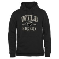 Men's Minnesota Wild Black Camo Stack Pullover Hoodie