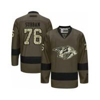 Men's Nashville Predators #76 P.K Subban Green Salute to Service NHL Jersey