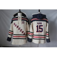 Men's New York Rangers #15 Tanner Glass Cream Sawyer Hooded Sweatshirt Stitched NHL Jersey