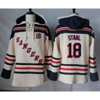 Men's New York Rangers #18 Marc Staal Cream Sawyer Hooded Sweatshirt Stitched NHL Jersey