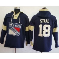 Men's New York Rangers #18 Marc Staal Navy Blue Pullover Hoodie Stitched NHL Jersey