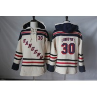 Men's New York Rangers #30 Henrik Lundqvist Cream Sawyer Hooded Sweatshirt Stitched NHL Jersey