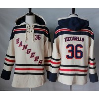 Men's New York Rangers #36 Mats Zuccarello Cream Sawyer Hooded Sweatshirt Stitched NHL Jersey