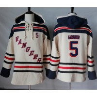 Men's New York Rangers #5 Dan Girardi Cream Sawyer Hooded Sweatshirt Stitched NHL Jersey