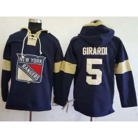 Men's New York Rangers #5 Dan Girardi Navy Blue Pullover Hoodie Stitched NHL Jersey