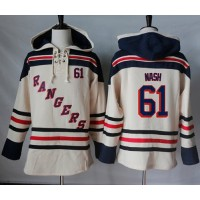 Men's New York Rangers #61 Rick Nash Cream Sawyer Hooded Sweatshirt Stitched NHL Jersey