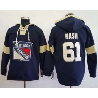 Men's New York Rangers #61 Rick Nash Navy Blue Pullover Hoodie Stitched NHL Jersey