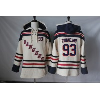 Men's New York Rangers #93 Mika Zibanejad Cream Sawyer Hooded Sweatshirt Stitched NHL Jersey