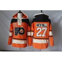 Men's Philadelphia Flyers #27 Ron Hextall Orange Sawyer Hooded Sweatshirt Stitched NHL Jersey