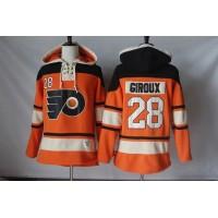 Men's Philadelphia Flyers #28 Claude Giroux Orange Sawyer Hooded Sweatshirt Stitched NHL Jersey