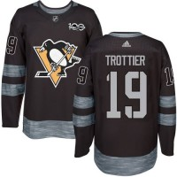 Men's Pittsburgh Penguins #19 Bryan Trottier Black 1917-2017 100th Anniversary Stitched NHL Jersey
