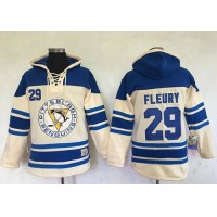 Men's Pittsburgh Penguins #29 Andre Fleury Cream Sawyer Hooded Sweatshirt Stitched NHL Jersey