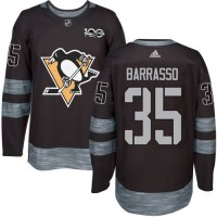 Men's Pittsburgh Penguins #35 Tom Barrasso Black 1917-2017 100th Anniversary Stitched NHL Jersey