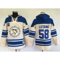 Men's Pittsburgh Penguins #58 Kris Letang Cream Sawyer Hooded Sweatshirt Stitched NHL Jersey