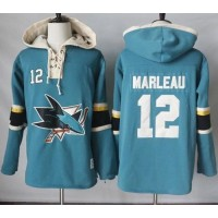 Men's San Jose Sharks #12 Patrick Marleau Teal Pullover Hoodie Stitched NHL Jersey