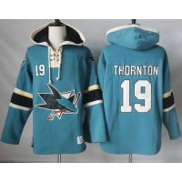 Men's San Jose Sharks #19 Joe Thornton Teal Pullover Hoodie Stitched NHL Jersey