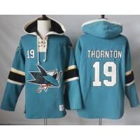 Men's San Jose Sharks #19 Joe Thornton Teal Pullover Hoodie Stitched NHL Jersey