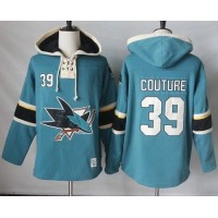 Men's San Jose Sharks #39 Logan Couture Teal Pullover Hoodie Stitched NHL Jersey