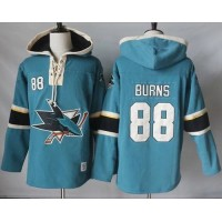 Men's San Jose Sharks #88 Brent Burns Teal Pullover Hoodie Stitched NHL Jersey
