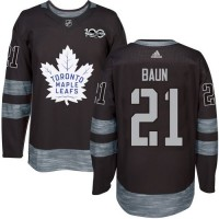Men's Toronto Maple Leafs #21 Bobby Baun Black 1917-2017 100th Anniversary Stitched NHL Jersey