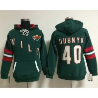 Minnesota Wild #40 Devan Dubnyk Green Women's Old Time Heidi NHL Hoodie