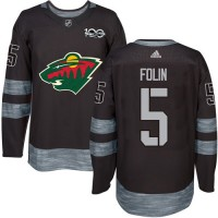 Minnesota Wild #5 Christian Folin Black 1917-2017 100th Anniversary Stitched NHL Jersey